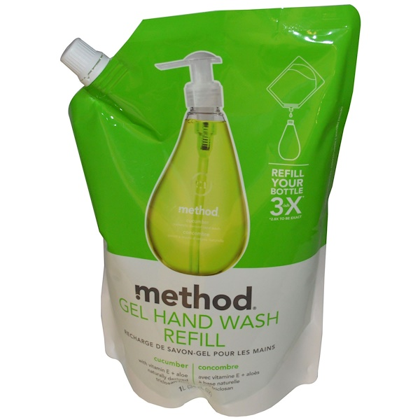 Method, Recarga de gel para lavado de manos, pepino, 34 fl oz (1 L) (Discontinued Item)