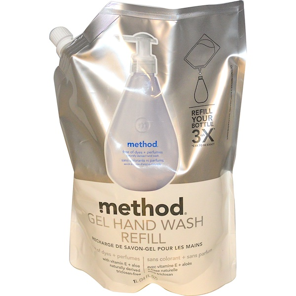 Method, Gel Hand Wash Refill, Free of Dyes + Perfumes, 34 fl oz (1 l)