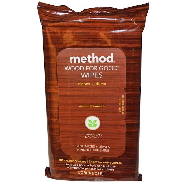 Method, ウッド・フォー・グッド・ワイプ、アーモンド、クリーニングワイプ30枚、 7 X 8 in (17 x 20 cm) (Discontinued Item)