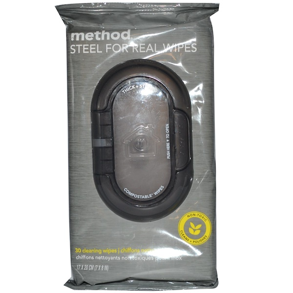 Method, Steel for Real Wipes, 30 Cleaning Wipes, 17 x 20 cm (7 x 8 in) Each (Discontinued Item)