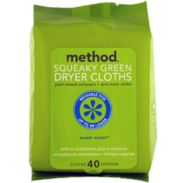 Method, Squeaky Green, Dryer Cloths, Sweet Water, 40 Cloths (Discontinued Item)