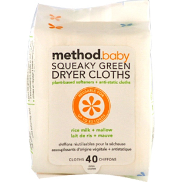 Method, Baby, Squeaky Green, Dryer Cloths, Rice Milk + Mallow, 40 Cloths (Discontinued Item)