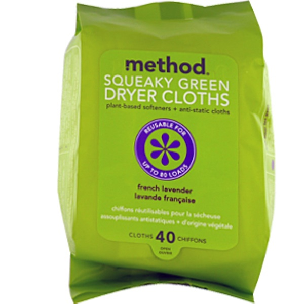 Method, Squeaky Green, Dryer Cloths, French Lavender, 40 Cloths (Discontinued Item)