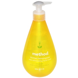 Method, Kitchen Odor-Eliminating Hand Wash, Lemongrass, 18 fl oz (532 ml)