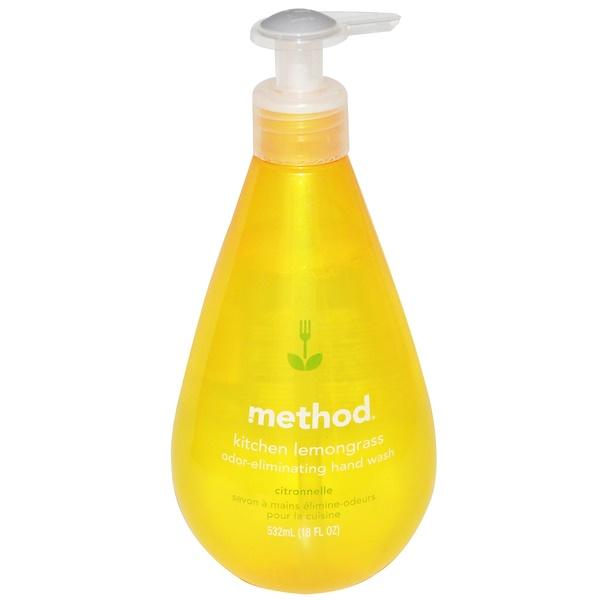 Method, Kitchen Odor-Eliminating Hand Wash, Lemongrass, 18 fl oz (532 ml)