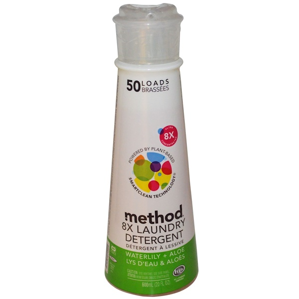Method, 8X Laundry Detergent, Waterlily + Aloe, 20 fl oz (600 ml) (Discontinued Item)
