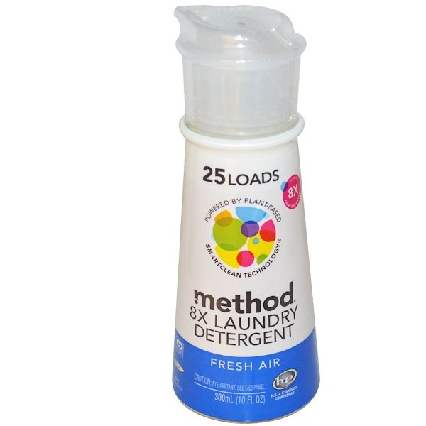 Method, 8X Laundry Detergent, 25 Loads, Fresh Air, 10 fl oz (300 ml) (Discontinued Item)