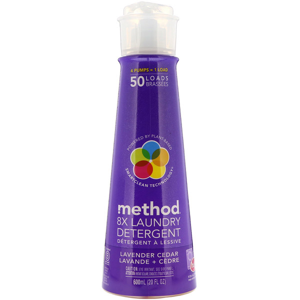 Method, 8X Laundry Detergent, Lavender Cedar, 20 fl oz (600 ml)