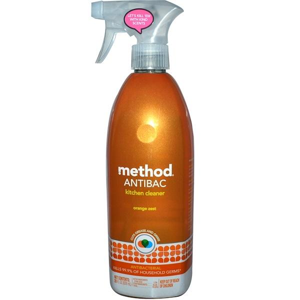 Method, Antibac, Kitchen Cleaner, Orange Zest, 28 fl oz (828 ml) (Discontinued Item)