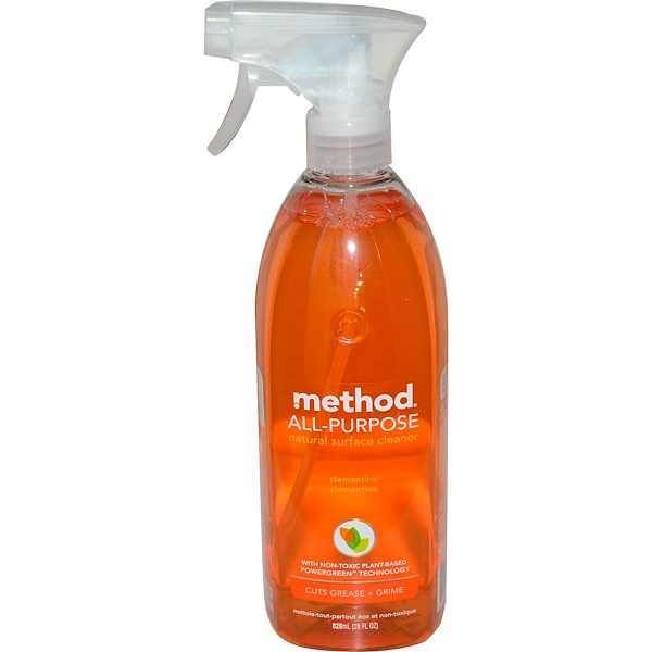 Method, Limpiador natural de vidrios y superficies, clementina, 28 fl oz (828 ml) (Discontinued Item)