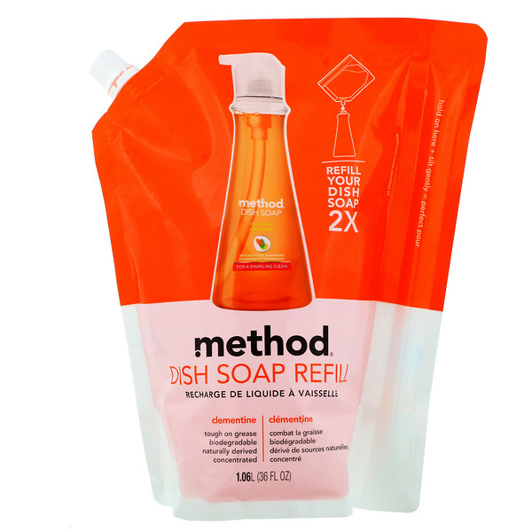 Method, Dish Soap Refill, Clementine, 36 fl oz (1.06 l) (Discontinued Item)