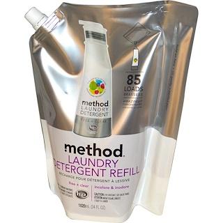 Method, 세탁 세제 리필, 85 회분, 무향+투명, 34 fl oz (1020 ml)