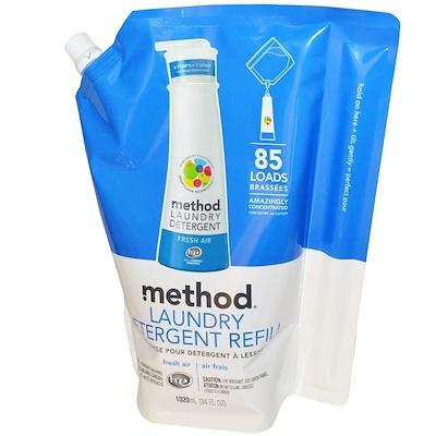Method 洗衣液補充裝,85次用量,清香型,34液體盎司(1020毫升)