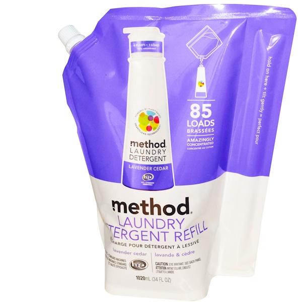 Method, 洗濯洗剤、詰め替え用、ラベンダー・セダー、85 回分、 34 液量オンス (1020 ml) (Discontinued Item)