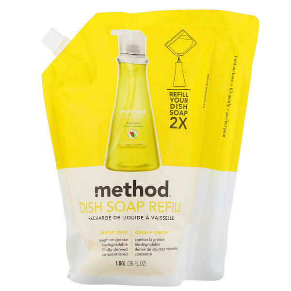Method, Dish Soap refill, Lemon Mint, 36 fl. oz. (Discontinued Item)