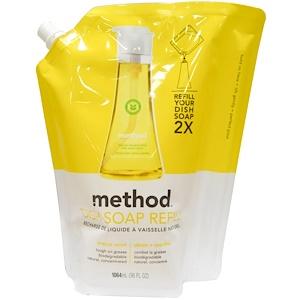 Method, Наполнитель средства для мытья посуды с лимоном и мятой, 36 жидких унций (1064 мл) инструкция, применение, состав, противопоказания