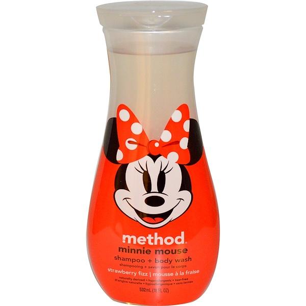 Method, Minnie Mouse Shampoo + Body Wash, Strawberry Fizz, 18 fl oz (532 ml) (Discontinued Item)