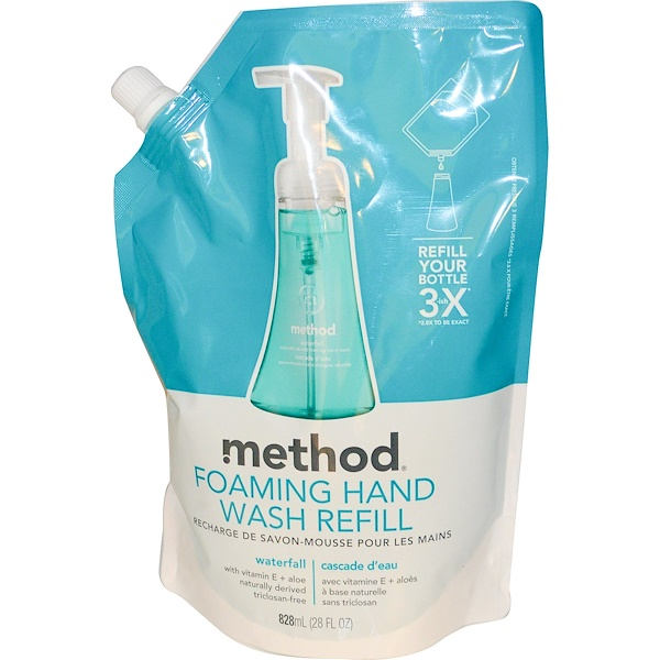 Method, Foaming Hand Wash Refill, Waterfall, 28 fl oz (828 ml) (Discontinued Item)