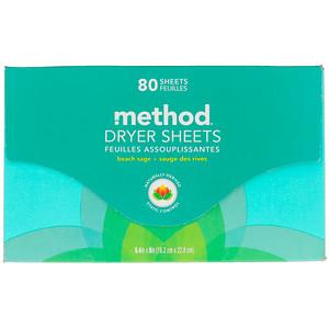 Метод, Dryer Sheets, Beach Sage, 80 Sheets отзывы