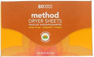 Method, Dryer Sheets, Ginger Mango, 80 Sheets