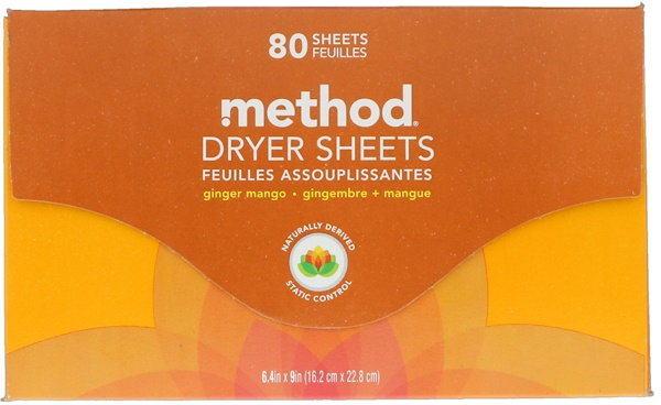 Method, Dryer Sheets, Ginger Mango, 80 Sheets (Discontinued Item)