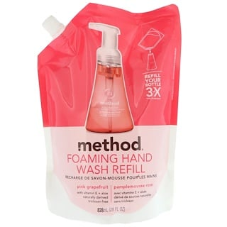 Method, Foaming Hand Wash Refill, Pink Grapefruit, 28 fl oz (828 ml)