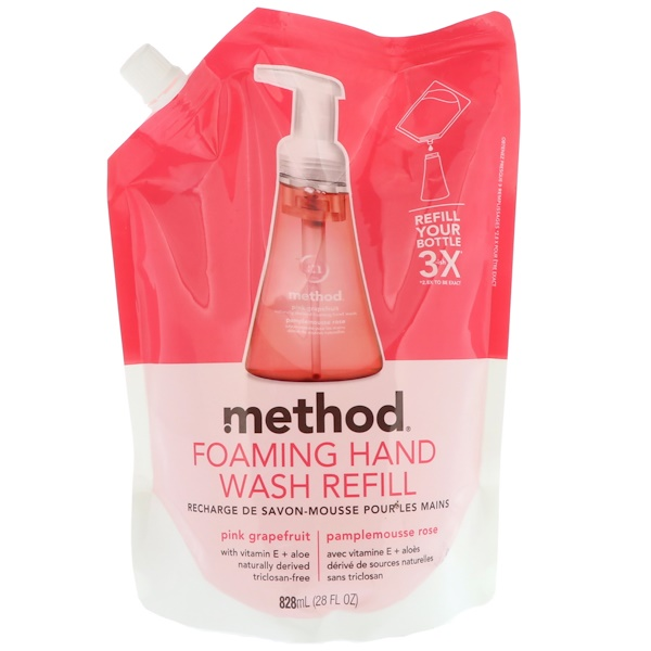 Method, Foaming Hand Wash Refill, Pink Grapefruit, 28 fl oz (828 ml) (Discontinued Item)