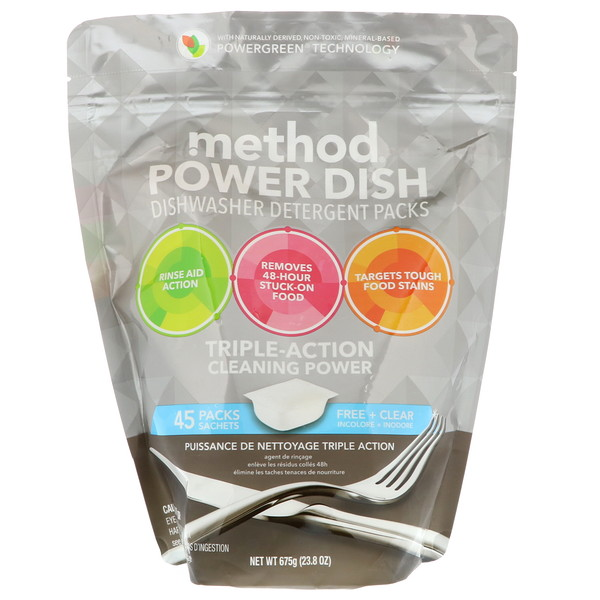 Method, Power Dish, Dishwasher Detergent Packs, Free + Clear, 45 Packs, 23.8 oz (675 g) (Discontinued Item)