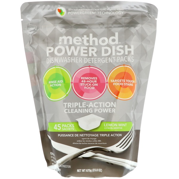 Method, Power Dish, Dishwasher Detergent Packs, Lemon Mint, 45 Packs, 23.8 oz (675 g)