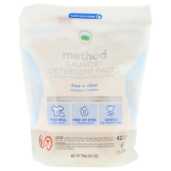 Method, Laundry Detergent Packs, Free + Clear, 42 Loads, 24.7 oz (700 g) (Discontinued Item)