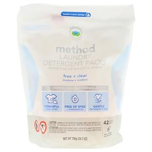 Метод, Laundry Detergent Packs, Free + Clear, 42 Loads, 24.7 oz (700 g) отзывы