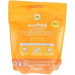 Method, Paquets de détergent à lessive, mangue au gingembre, 42 charges, 700 g (24,7 oz)