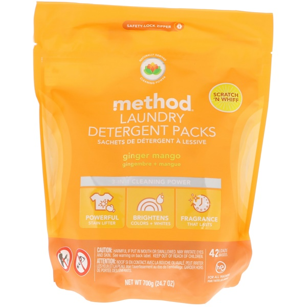 Method, Laundry Detergent Packs, Ginger Mango, 42 Loads, 24.7 oz (700 g)