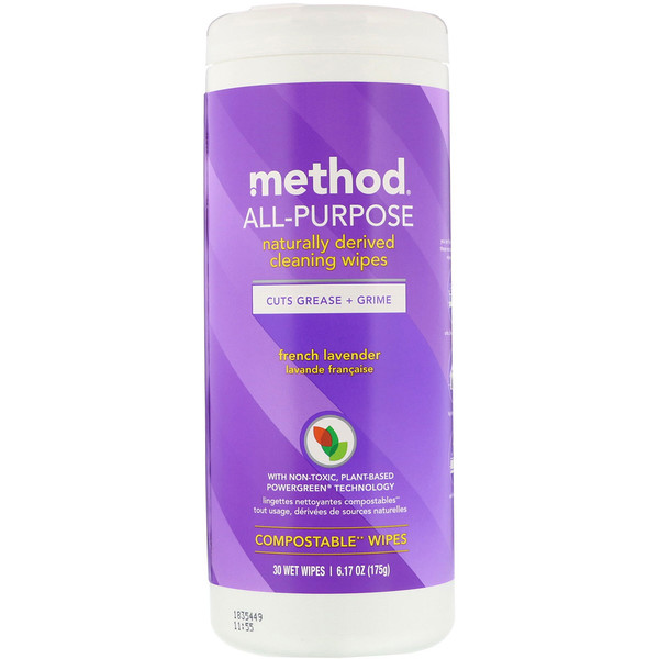 Method, All-Purpose, Naturally Derived Cleaning Wipes, French Lavender, 30 Wet Wipes (Discontinued Item)