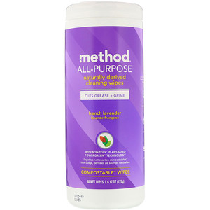 Метод, All-Purpose, Naturally Derived Cleaning Wipes, French Lavender, 30 Wet Wipes отзывы