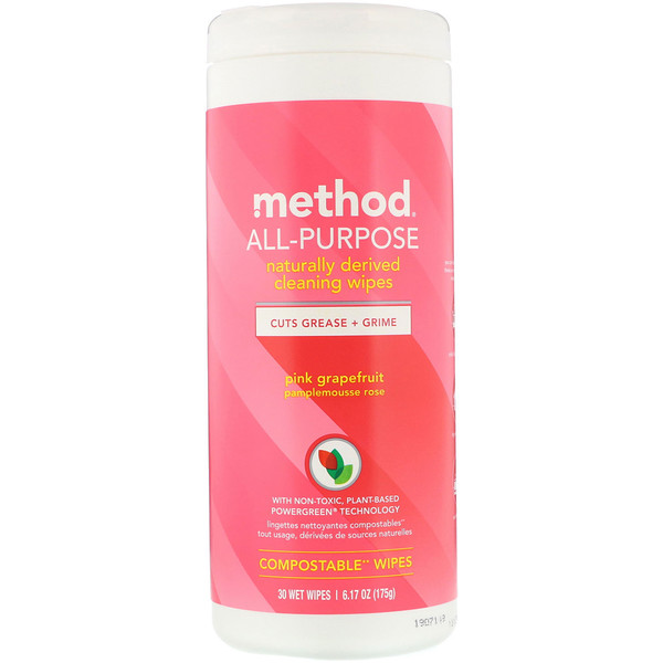 Method, All-Purpose, Naturally Derived Cleaning Wipes, Pink Grapefruit, 30 Wet Wipes (Discontinued Item)