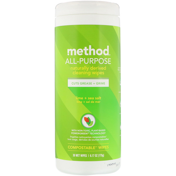 Method, Paños de limpieza multipropósito de materiales naturales, lima + sal marina, 30 paños húmedos (Discontinued Item)