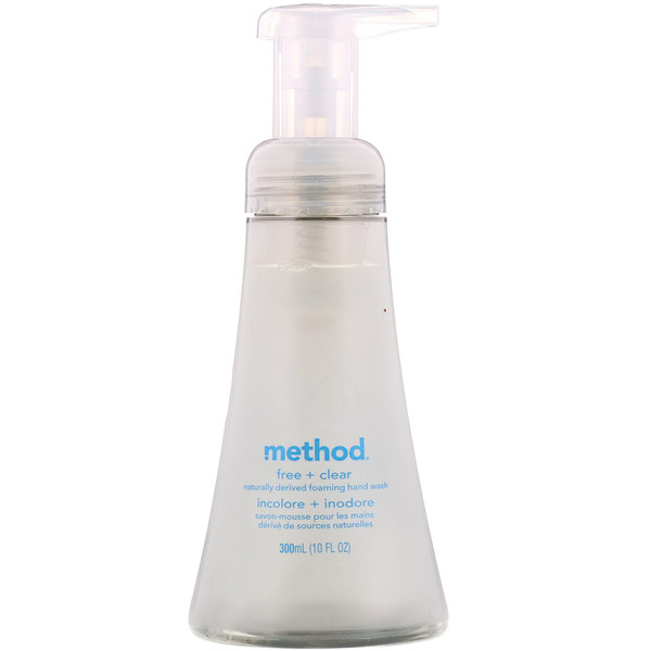 Method, Jabón líquido espumoso con ingredientes naturales, incoloro + inodoro, 300 ml (10 oz. liq.)