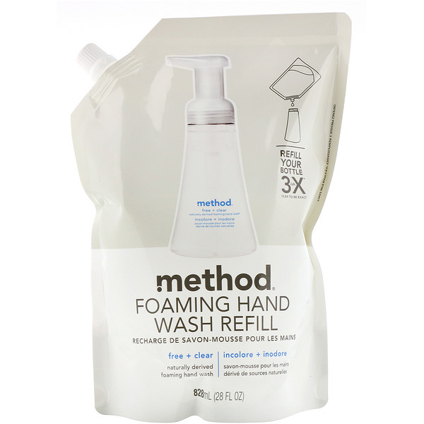 Method, Foaming Hand Wash Refill, Free + Clear, 28 fl oz (828 ml) (Discontinued Item)