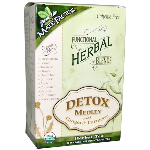 Mate Factor, Organic Functional Herbal Blends, Detox Medley with Ginger and Turmeric, 20 Tea Bags, (3.5 g) Each (Discontinued Item)