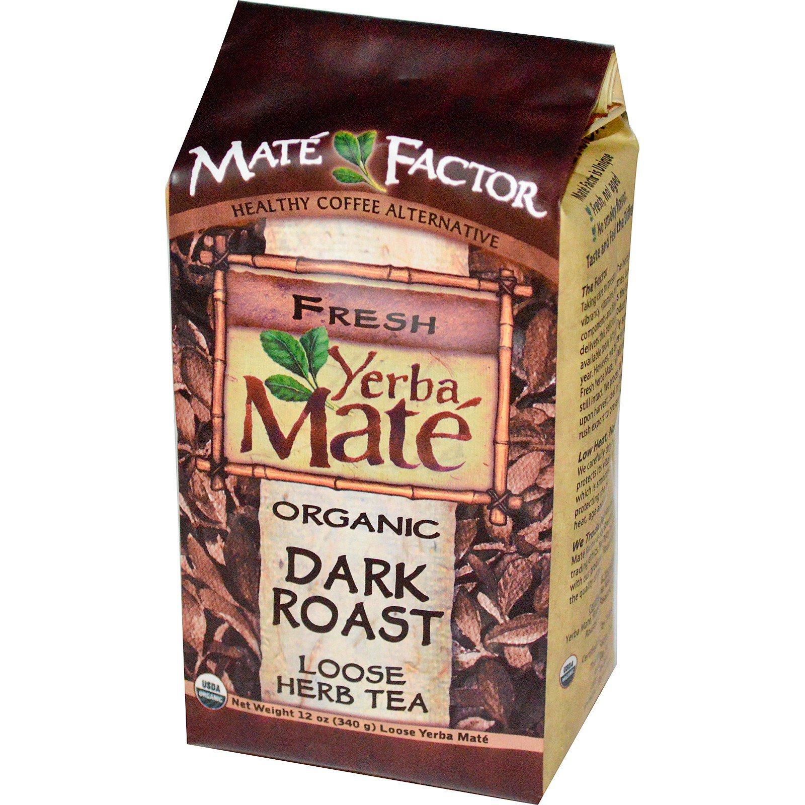 Mate Factor, Органический чая Мате, глубокая обжарка, листовой травяной чай, 12 унций (340 г)