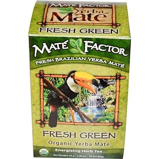 Mate Factor, Yerba Mate orgánica, Verde fresco, 24 bolsas de té, 2.96 oz (84 g)