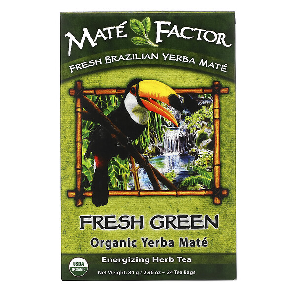 Organic Yerba Mate, Fresh Green, 24 Tea Bags, 2.96 oz (84 g)