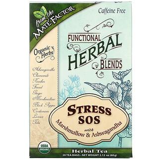 Mate Factor, Stress SOS with Marshmallow & Ashwagandha, Caffeine Free, 20 Tea Bags, 2.12 oz (60 g)