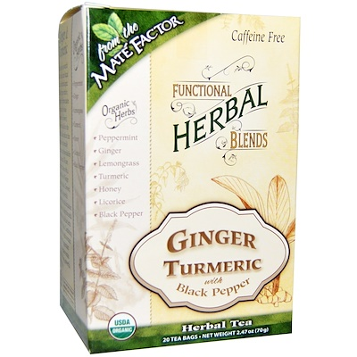 Mate Factor Organic Functional Herbal Blends, Ginger Turmeric with Black Pepper, 20 Tea Bags, (3.5 g) Each