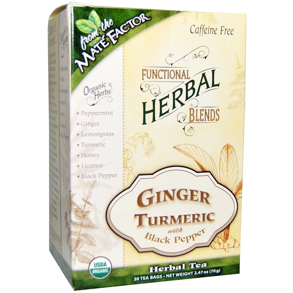 Mate Factor, Organic Functional Herbal Blends, Ginger Turmeric with Black Pepper, 20 Tea Bags, 2.47 oz (70 g) (Discontinued Item)