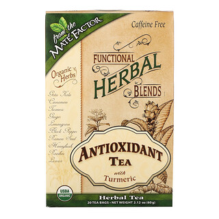 Mate Factor, Antioxidant Tea with Turmeric, Caffeine Free, 20 Tea Bags, 2.12 oz (60 g)