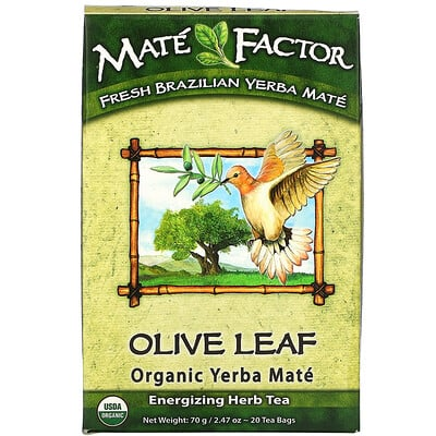 Mate Factor Olive Leaf Organic Yerba Mate, 20 Tea Bags, 2.47 oz (70 g)