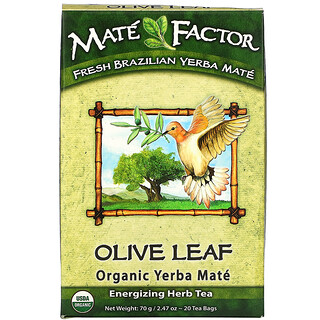 Mate Factor, Olive Leaf  Organic Yerba Mate, 20 Tea Bags, 2.47 oz (70 g)