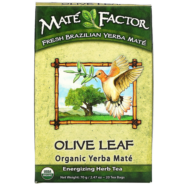 Mate Factor, Olive Leaf  Organic Yerba Mate, 20 Tea Bags, 2.47 oz (70 g)
